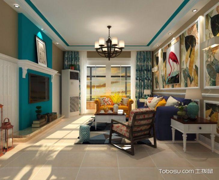 客厅白色地砖美式风格装修图片