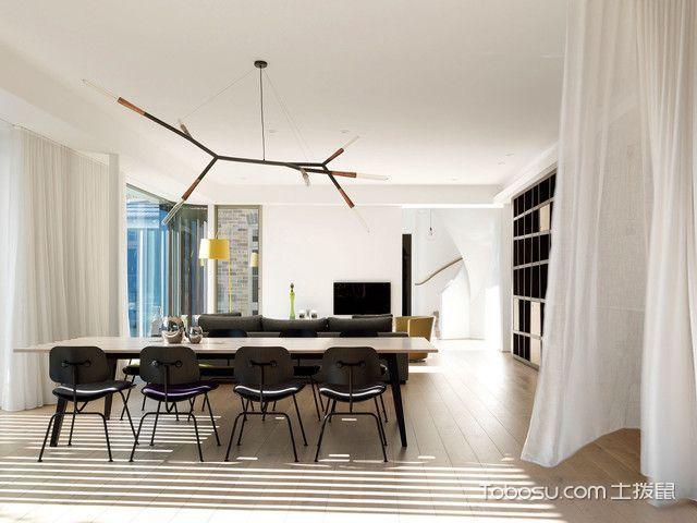 餐厅白色餐桌混搭风格装潢效果图