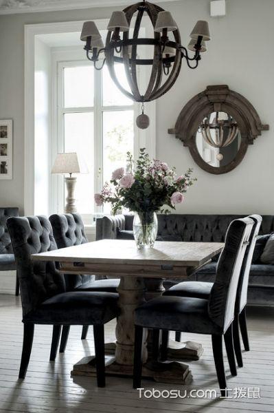 餐厅灰色餐桌简欧风格效果图