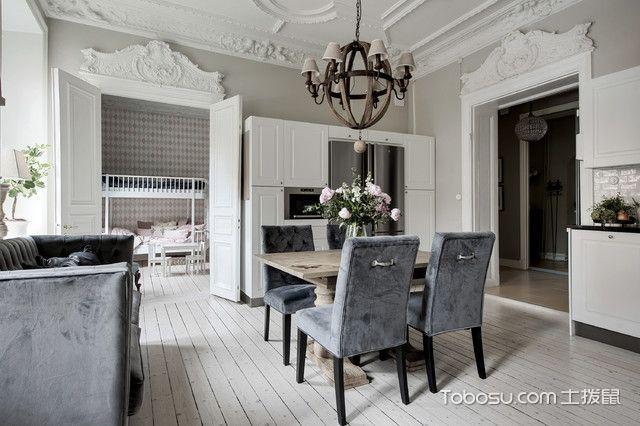餐厅灰色餐桌简欧风格装潢效果图
