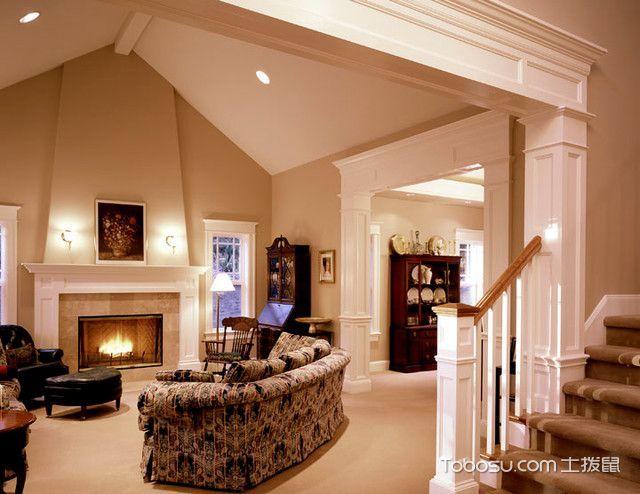 客厅咖啡色吊顶简欧风格装饰设计图片