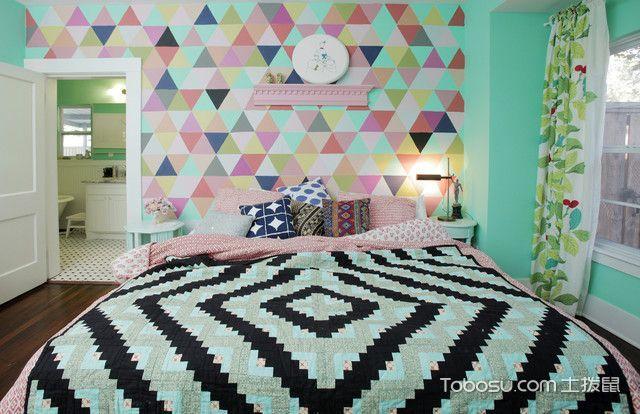 卧室彩色背景墙混搭风格装潢设计图片