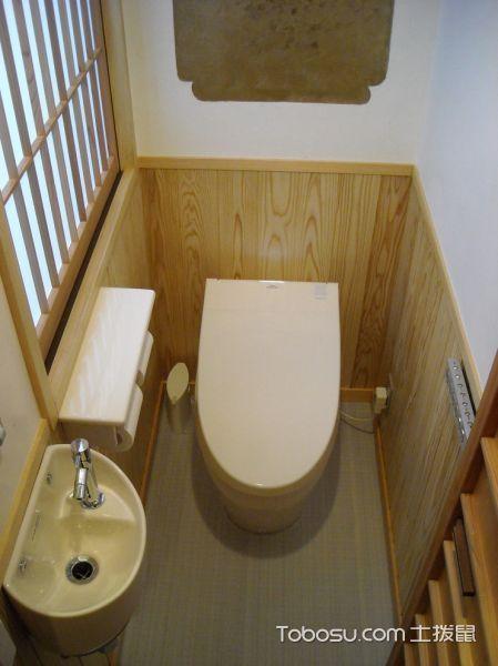 卫生间白色背景墙日式风格装潢效果图