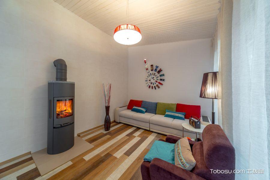 客厅红色灯具北欧风格装修图片