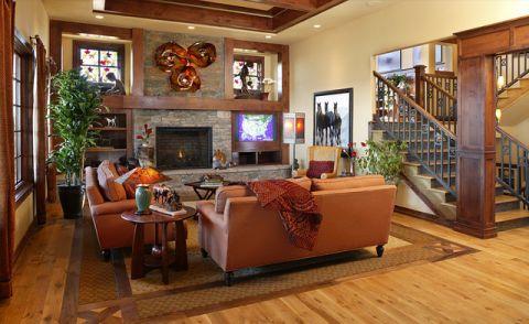 客厅黄色背景墙混搭风格装饰图片