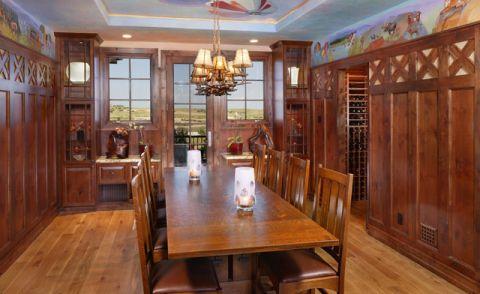 餐厅咖啡色橱柜混搭风格装潢图片