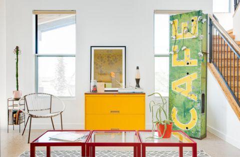 客厅绿色混搭风格装修设计图片