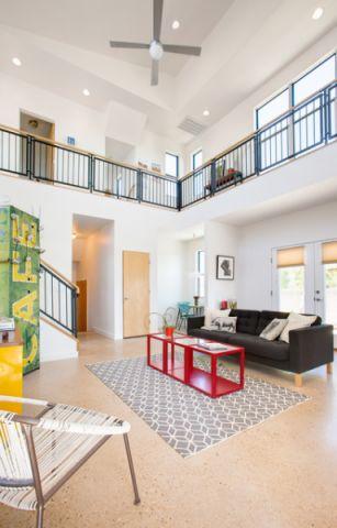 客厅白色吊顶混搭风格装饰设计图片