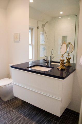 卫生间白色橱柜混搭风格装饰设计图片
