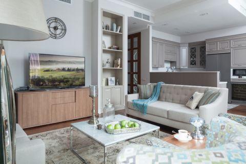 客厅美式风格效果图大全2017图片_土拨鼠大气淡雅客厅美式风格装修设计效果图欣赏