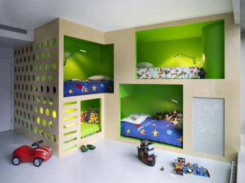 儿童房现代风格效果图大全2017图片_土拨鼠清爽温馨儿童房现代风格装修设计效果图欣赏