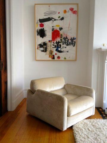 客厅白色背景墙混搭风格装饰图片