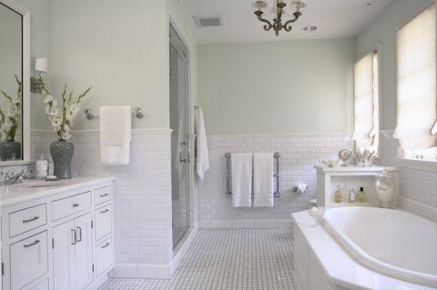 卫生间绿色背景墙美式风格装潢效果图