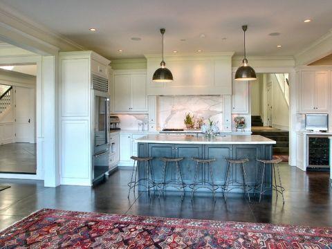 厨房绿色背景墙美式风格装修设计图片