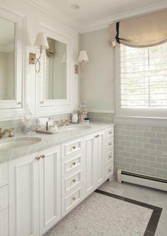 卫生间背景墙美式风格装潢设计图片
