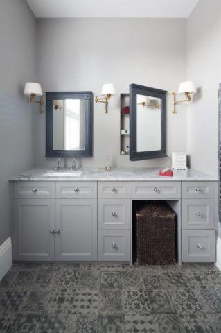 卫生间灰色梳妆台简欧风格装潢设计图片