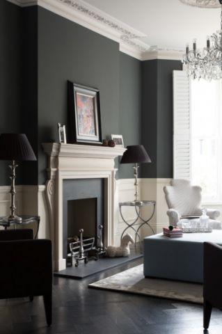 客厅灰色背景墙简欧风格效果图