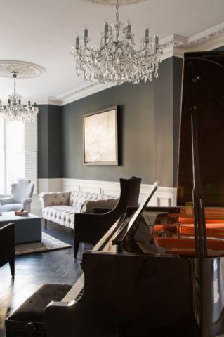 客厅灰色背景墙简欧风格装饰效果图