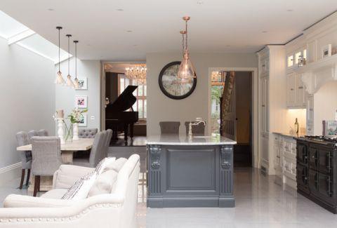 厨房灰色餐桌简欧风格装潢图片