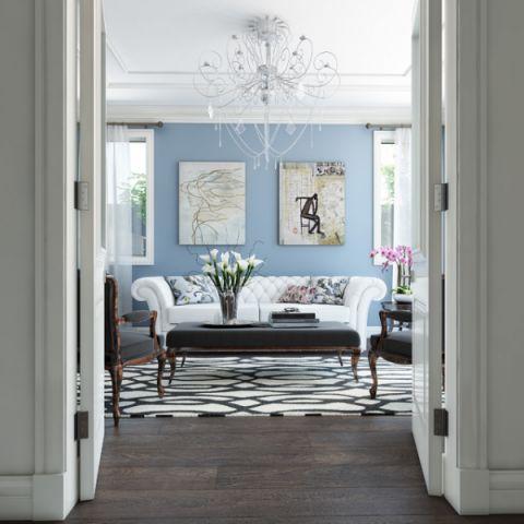 客厅白色沙发简欧风格装饰图片