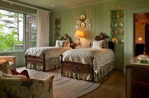 卧室绿色背景墙简欧风格装饰效果图