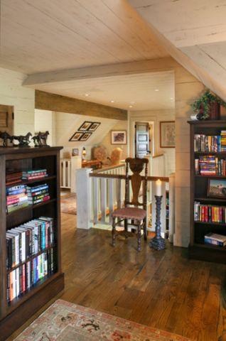 书房咖啡色书架简欧风格装修图片