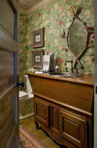 卫生间咖啡色梳妆台简欧风格装饰图片