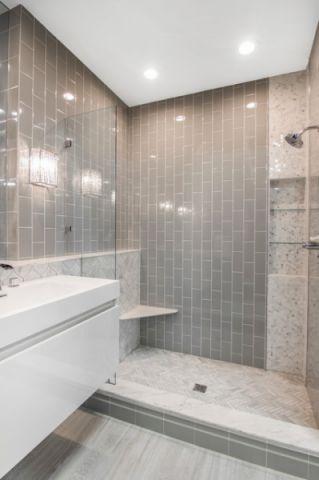 浴室灰色背景墙简欧风格装潢图片