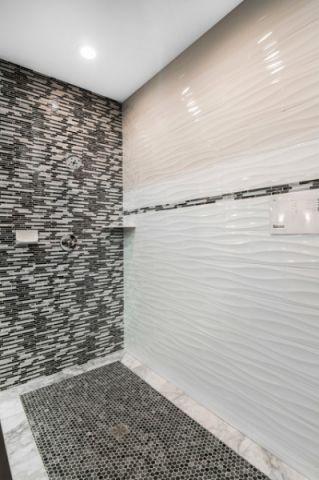 卫生间灰色背景墙简欧风格装潢效果图