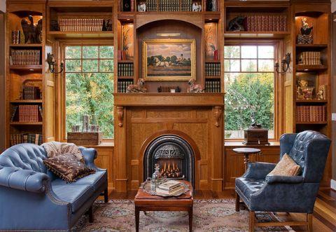 书房咖啡色沙发简欧风格装饰图片