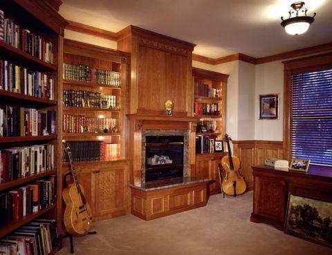 书房咖啡色书架简欧风格装潢图片