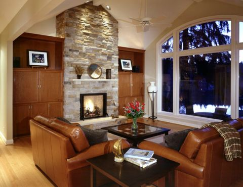 客厅咖啡色背景墙简欧风格装修设计图片