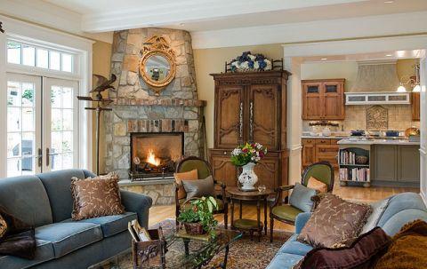 客厅咖啡色沙发简欧风格装潢设计图片