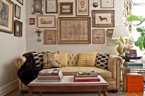 客厅米色背景墙混搭风格装饰效果图