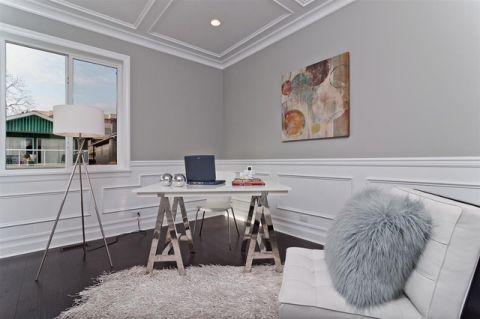 书房白色书桌现代风格装饰设计图片