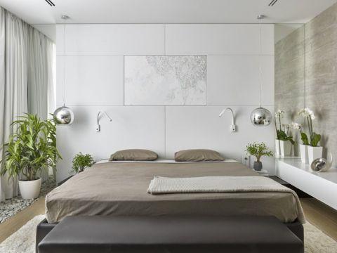 卧室白色背景墙现代风格装饰设计图片
