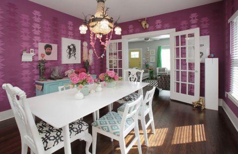 餐厅紫色背景墙混搭风格效果图