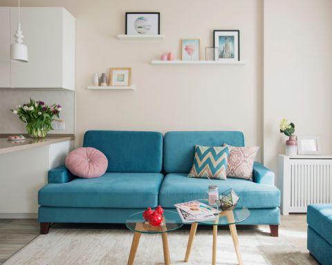 低调优雅蓝色小户型沙发装潢效果图