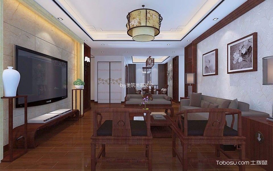 大上海御龙湾120平米新中式风格三居室装修效果图