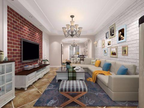 客厅米色沙发田园风格装饰设计图片