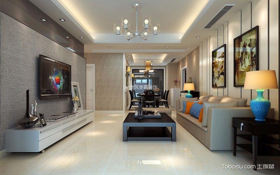 客厅咖啡色背景墙现代风格装修设计图片