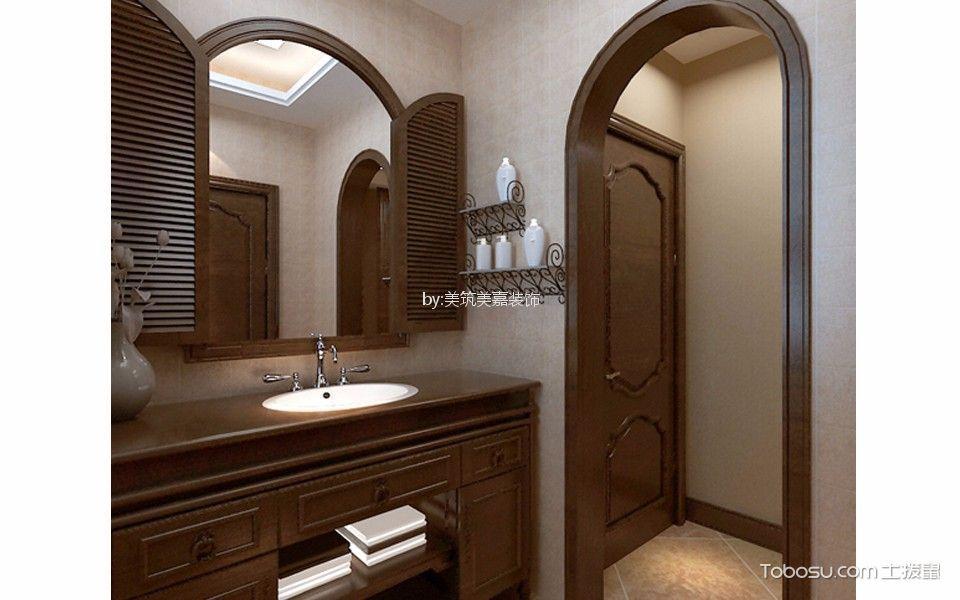 卫生间咖啡色洗漱台美式风格装潢设计图片