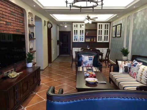 温馨美式风格三居室120平米装修效果图