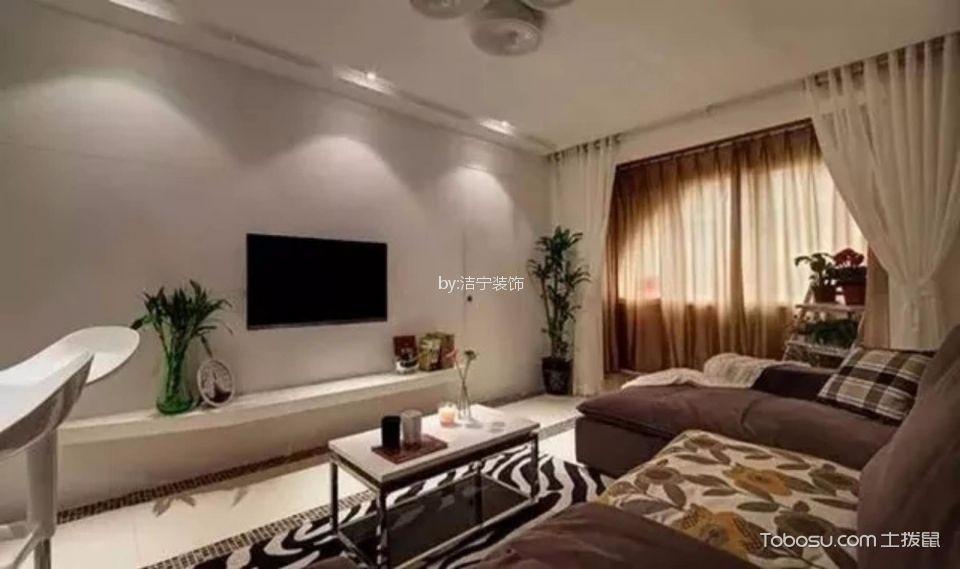 现代简约风格80平米二居室装修效果图