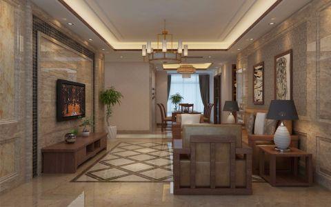客厅米色背景墙新中式风格装修效果图