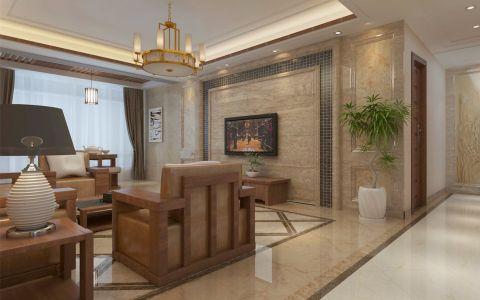 客厅米色背景墙新中式风格装饰效果图