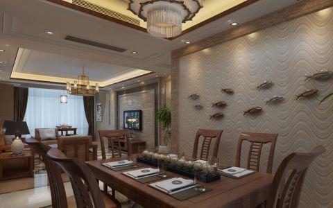 餐厅米色背景墙新中式风格装潢效果图