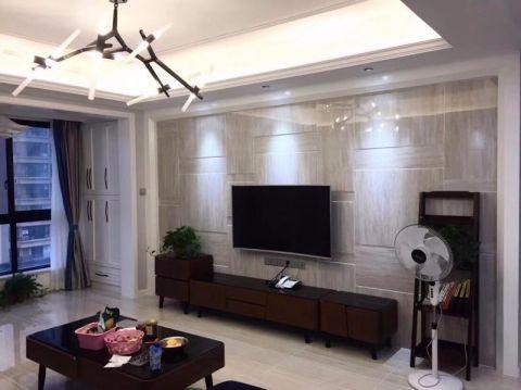 客厅彩色背景墙现代简约风格装饰图片