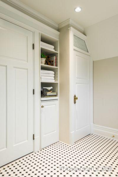 浴室白色地砖美式风格装饰图片