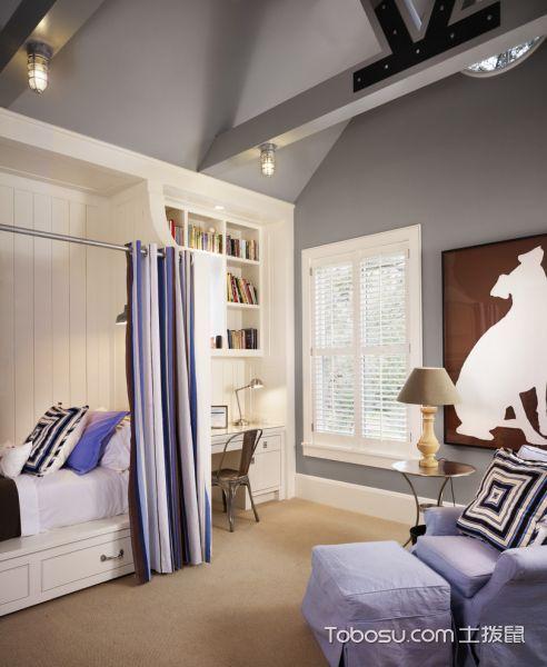 儿童房白色书桌美式风格装潢图片